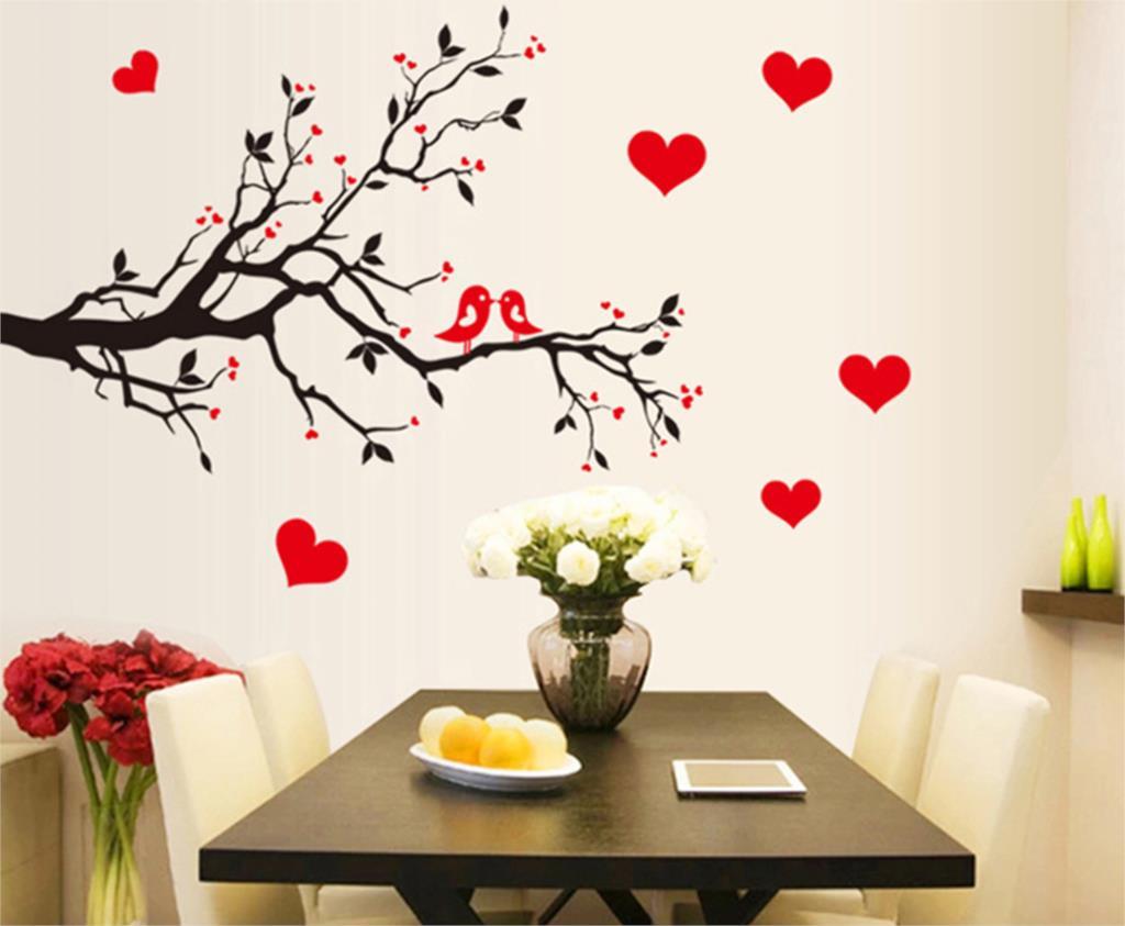 rojo del amor del corazn decoracin de la pared vintage vida rbol etiqueta de la pared