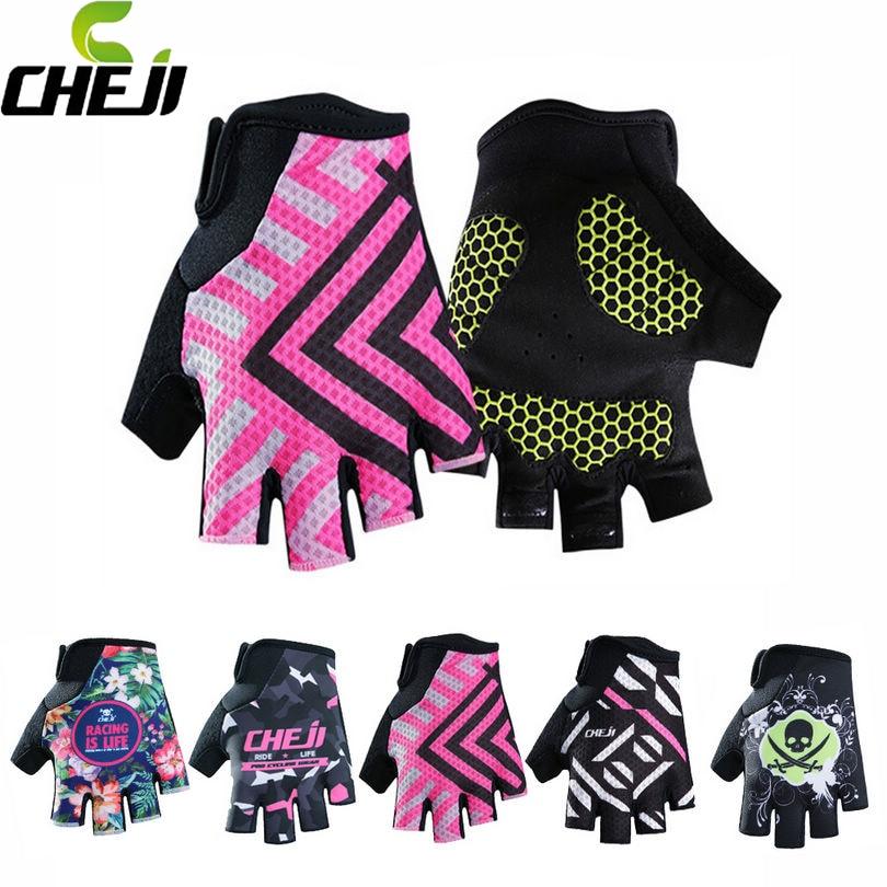 CHEJI Team Girls Wear Cycling <font><b>Gloves</b></font> Women Bike Ciclismo Bicycle Shockproof Half Finger <font><b>Glove</b></font> GEL Pad Size S-XL