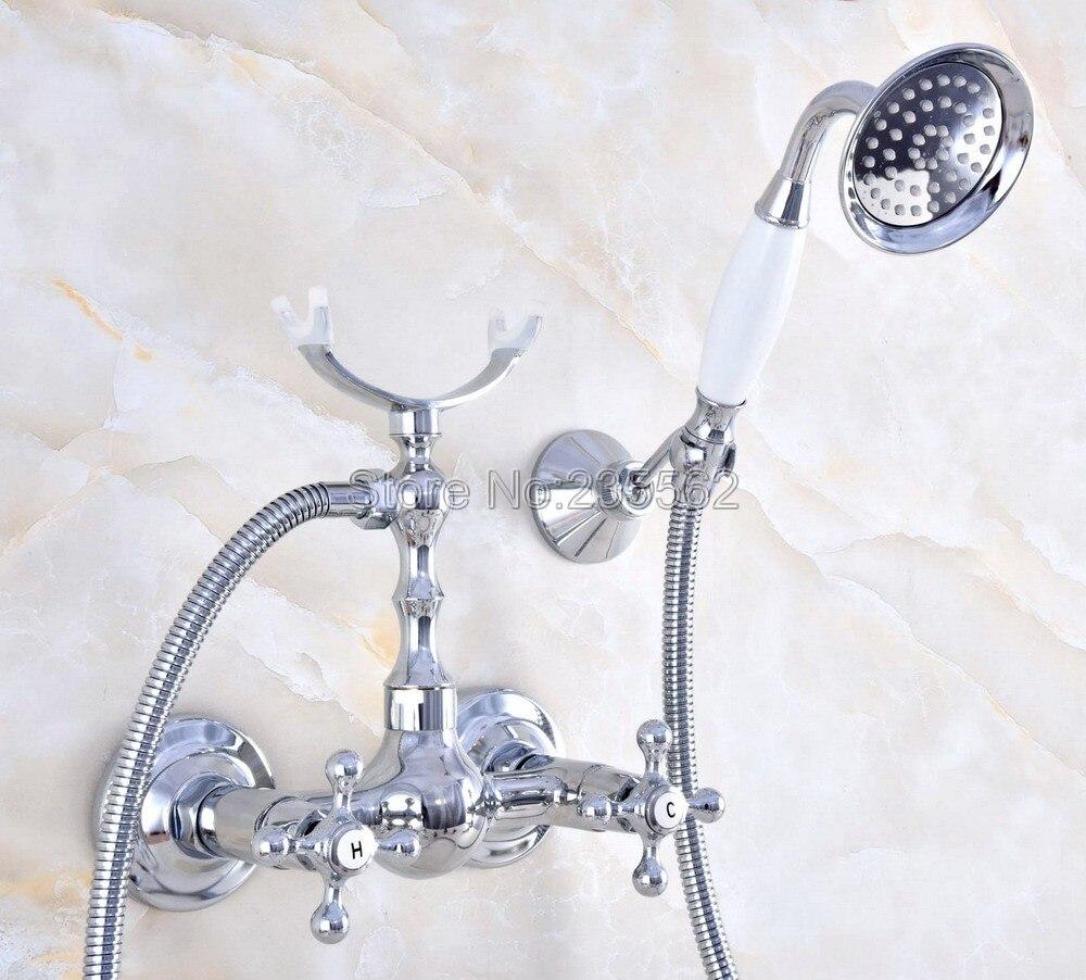 Chrome Brass Bathroom Faucet Bath Faucet Mixer Tap Wall Mounted Hand Held Shower Head Kit Shower Faucet Sets lna732