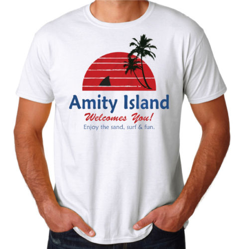 Amity Island Shark Attack Jaws Cult Classic Movie Inspired 70'S 80'S New T-Shirt 2019 Summer Brand Men T-Shirt image