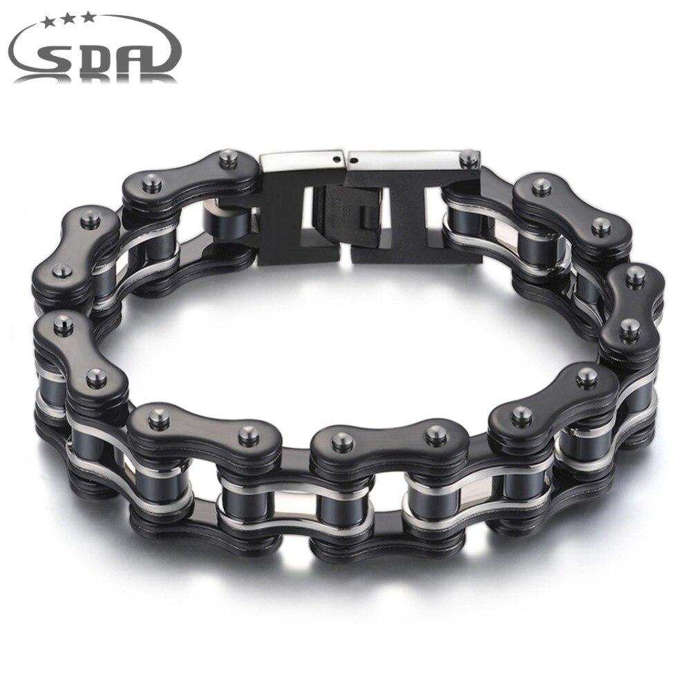 SDA 316L joyería de acero inoxidable moda hombres pulseras y brazaletes negro 16mm ancho estilo mixto Punk Rock joyería 7,5