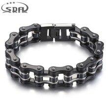 SDA 316L нержавеющая сталь ювелирные изделия Модные мужские браслеты и браслеты черный 16 мм ширина смешанный стиль панк-рок ювелирные изделия 7,5 «10» YM011