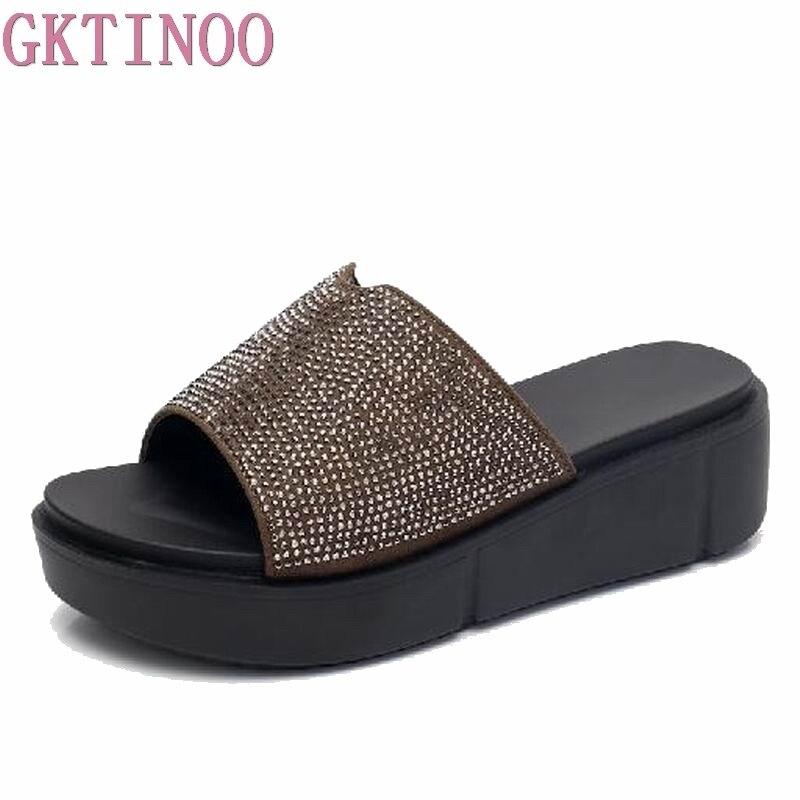 GKTINOO Wedges Woman Beach Flip Flops Platform Slippers Summer Sandals Thick Bottom Slides Open Toe Slippers Ladies Shoes 35-43