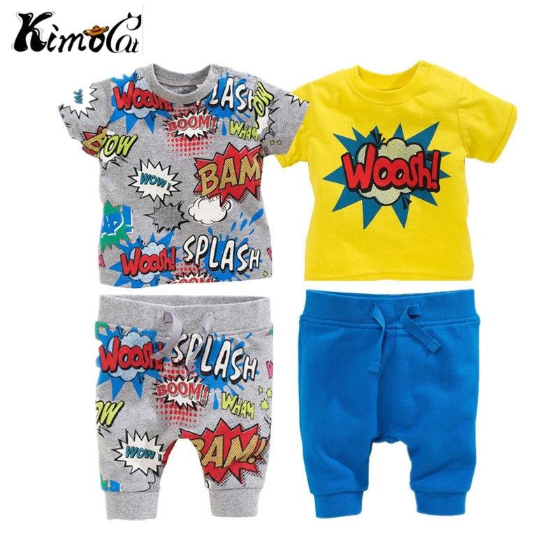 Kimocat summer style with short sleeves 2 PCS baby boy and girl baby explosion printing short sleeve T-shirt + pants