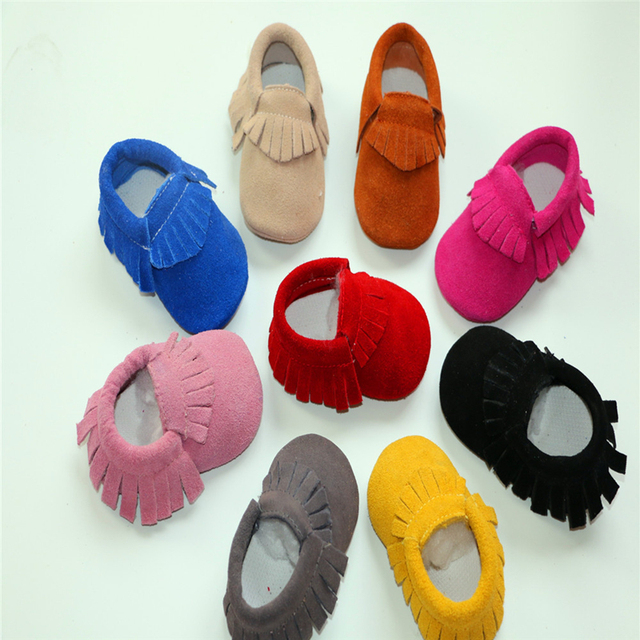2016 Hot Sale Tassel Solid Sewing Newborn Baby Soft Soled Lovely First Walkers Many Colors Offer Infants Slip on Prewalkers