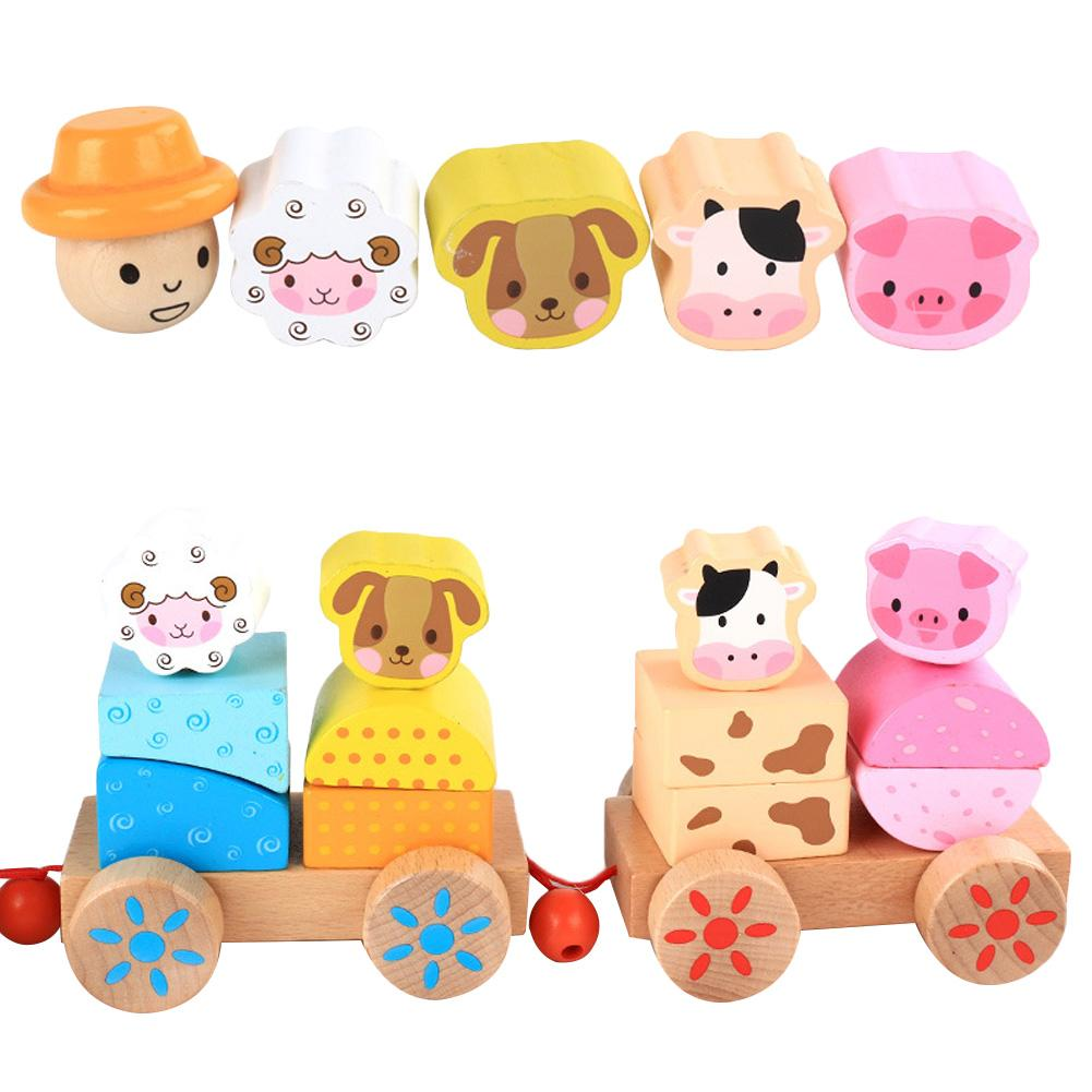 New Children's Wooden Farm Animals Stacking Train Small Pull Trains Infant Early Childhood Cognitive Toddler Toys(China)