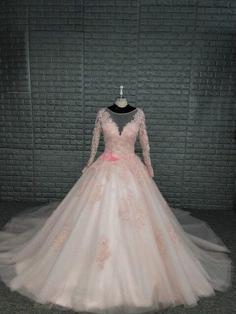 블러쉬 핑크 긴 소매 웨딩 드레스 2019 빈티지 로브 드 mariage 게스트 드레스 레이스와 함께 다시 Applique 레이스 신부 가운