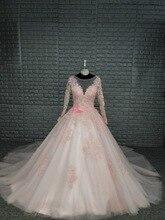 Blush Pink Long Sleeve Wedding Dress 2019 Vintage Robe de mariage Guest Dresses With Lace Up Back Applique Lace Bridal Gowns