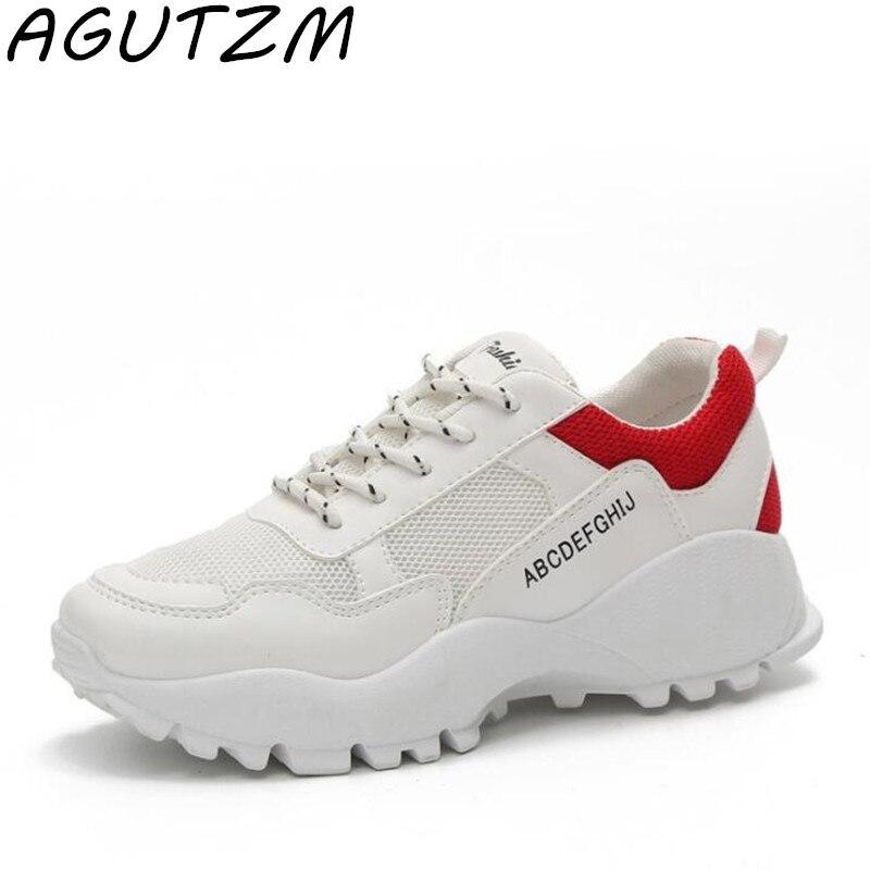 AGUTZM Fashion Trainers Sneakers Women Lace Up Casual Shoes Ulzzang Mesh Grils Basket Femme Platform Ladies Canvas Shoes zapatillas de moda 2019 hombre