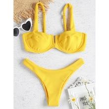 Купить с кэшбэком Yellow Bikini Set Women Swimsuit 2019 Sexy Bikinis for Girl Swimwear Push Up Bandeau String Thong Bottom Female Bathing Suits