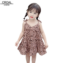 CROAL CHERIE Fashion Leopard Ruffles Girls Dress Princess Party Beach For Infant Baby 80-120cm
