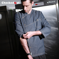 Fashion Hotel And Restaurant Kitchen Long Sleeve Denim Chef Jacket