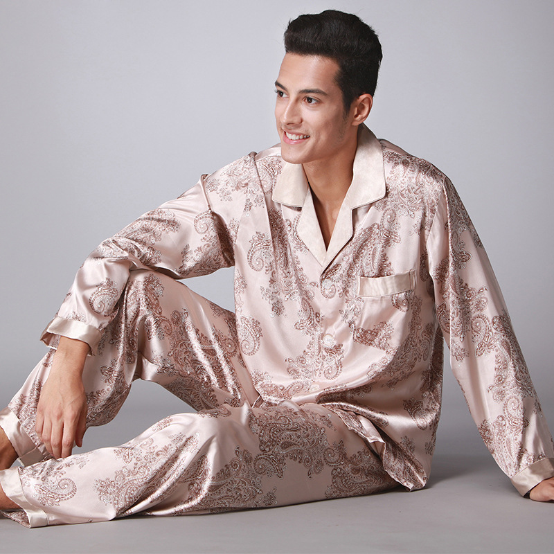 SSH005 New Fashion Men   Pajamas   Satin Silk Long Sleeves Pants 2PCS   Pajama     Set   Spring Autumn High Quality Nightgown Male Sleepwear