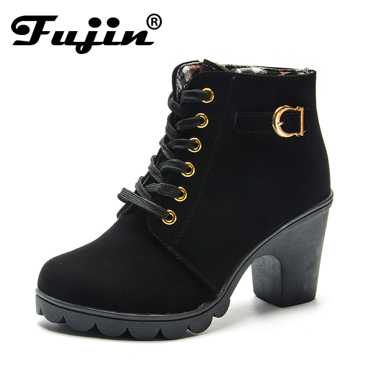 Fujin Autumn Winter Women Boots Casual Ladies shoes Block Heel boots Suede Leather ankle boots High heeled zipper big size 35-43