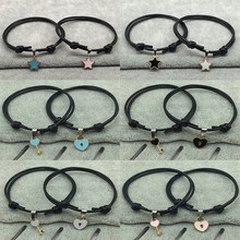 Fashion 2Pcs Simple Women Men Rope Bracelet Women Gifts Black key Heart lock Star Handmad Couple Rope Jewelry(China)