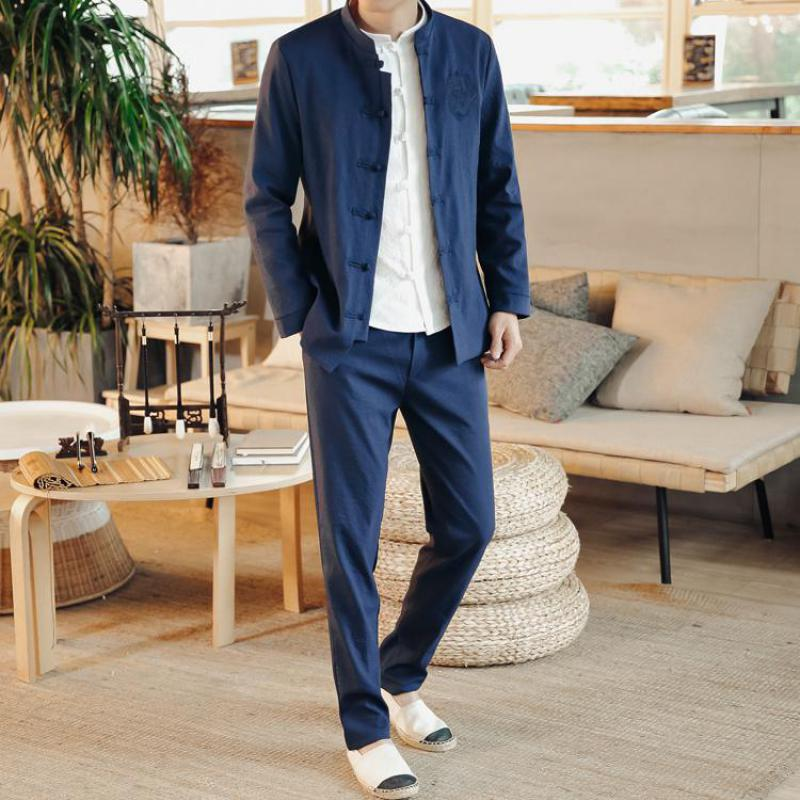 Traditional Chinese Style Single Breasted Tunic Suit Wedding Clothes For Men Jacket+Pants Dragon Embroidery Slim Fit Tuxedo Sets