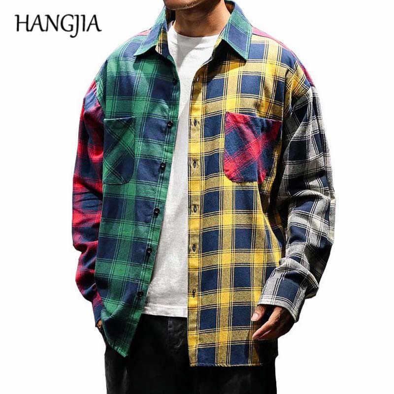 2019 VINTAGE ลายสก๊อต Colorblock เสื้อแฟชั่นผู้ชายแขนยาว Patchwork ลายสก๊อตเสื้อผู้ชาย Hip Hop Casual เสื้อผ้าเมือง