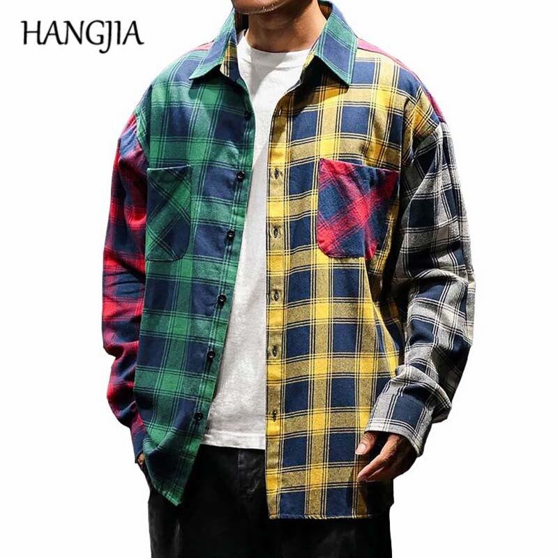 2019 Vintage Plaid Colorblock Shirts Men's Fashion Long Sleeve Patchwork Tartan Shirt Men Hip Hop Casual Urban Clothing