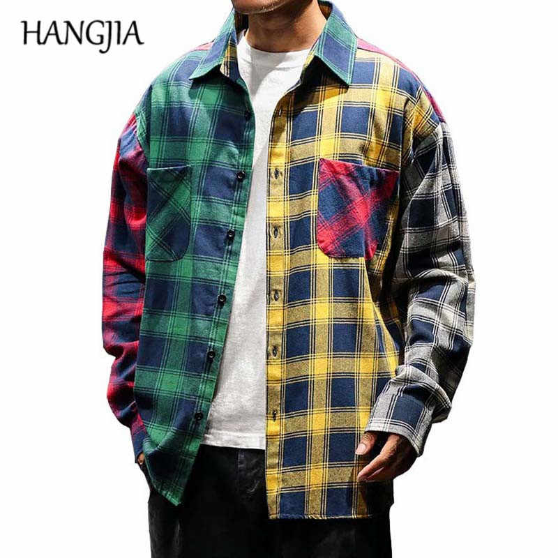 2019 Vintage Plaid Colorblock Shirts mannen Mode Lange Mouw Patchwork Tartan Shirt Mannen Hip Hop Casual Urban Kleding