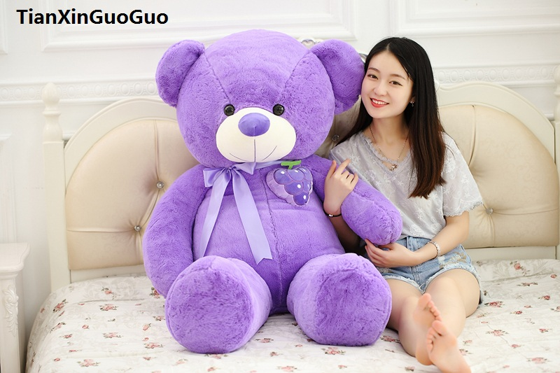 stuffed toy Large 115cm teddy bear plush toy fruit grape design purple bear soft doll hugging pillow birthday gift s0907 1 piece light brown high quality low price stuffed plush toys large size100cm teddy bear 1m big bear doll lovers birthday gift