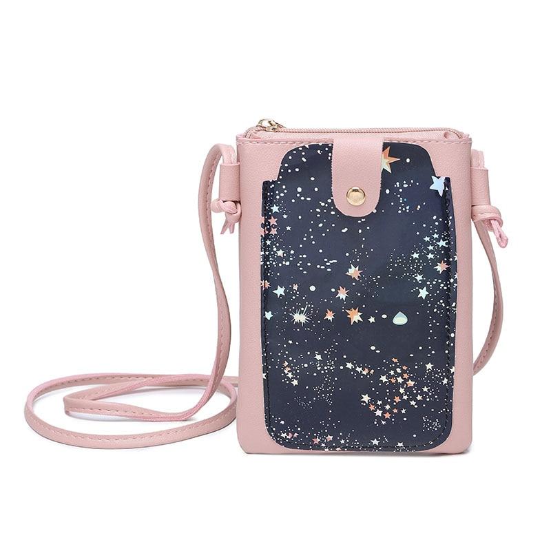 Для женщин плечо небольшой телефон сумка пайетки разноцветные звездное небо плеча Crossbody вертикальная сумка LT88