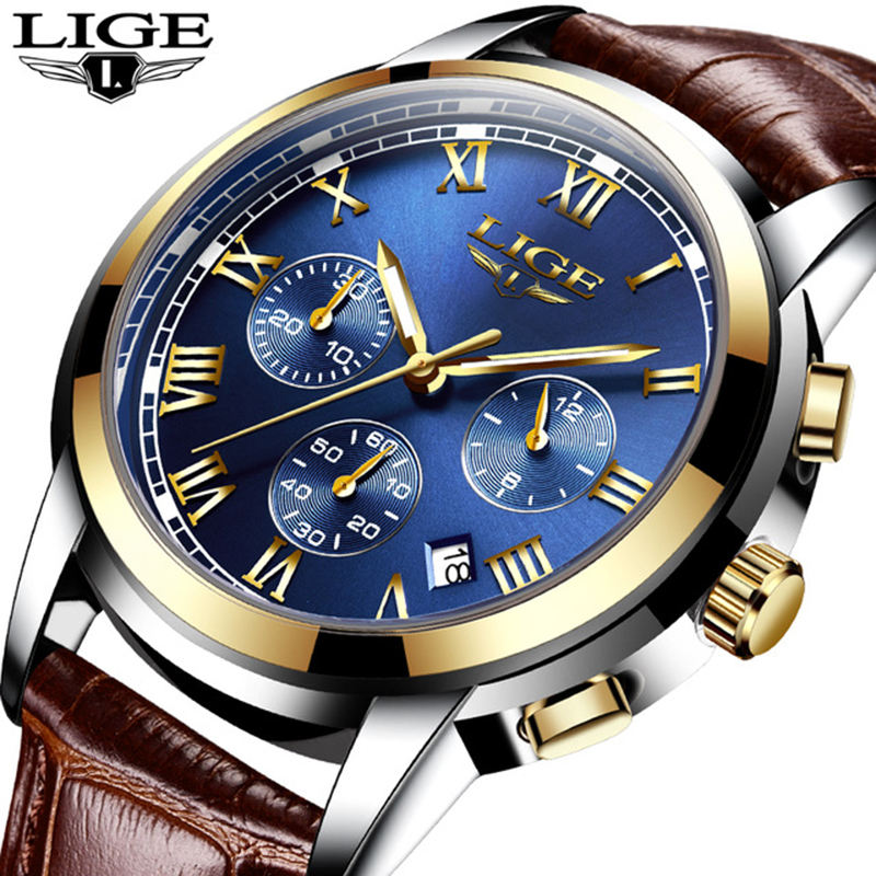 New LIGE Mens Watches Top Luxury Brand Fashion Watch Men Business Waterproof Casual Leather Quartz Wristwatch Relogio Masculino the fifth quartz watch men women casual mens watches top brand luxury business quartz watch men wristwatch relogio masculino