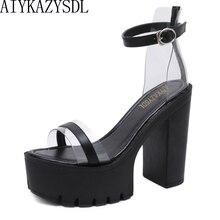 Женские сандалии с кристаллами AIYKAZYSDL, туфли на очень высоком каблуке и платформе с открытым носком, прозрачные Лоскутные босоножки с ремешк...