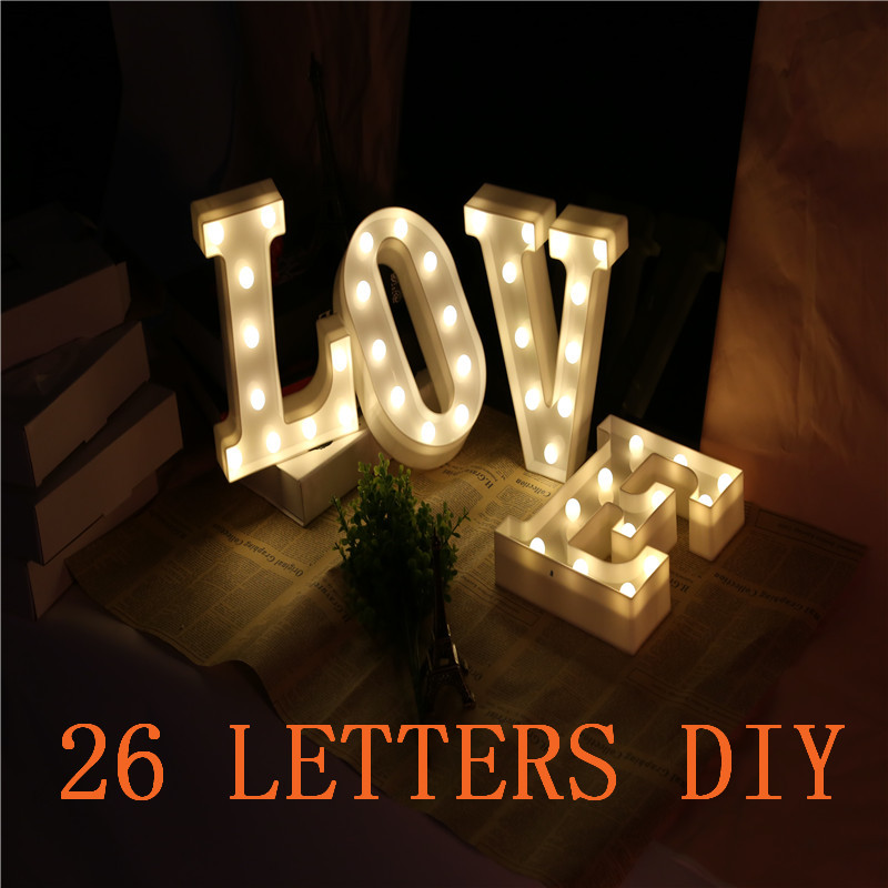 Premium 26 Letters White LED Night Light Marquee Sign Alphabet Lamp For Birthday Wedding Party Bedroom Wall Hanging Decor Gift alameda wall hanging bedroom decor tapestry