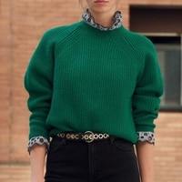 Fall 2018 Women Green Wool Sweaters Back Zip Knitted Tops