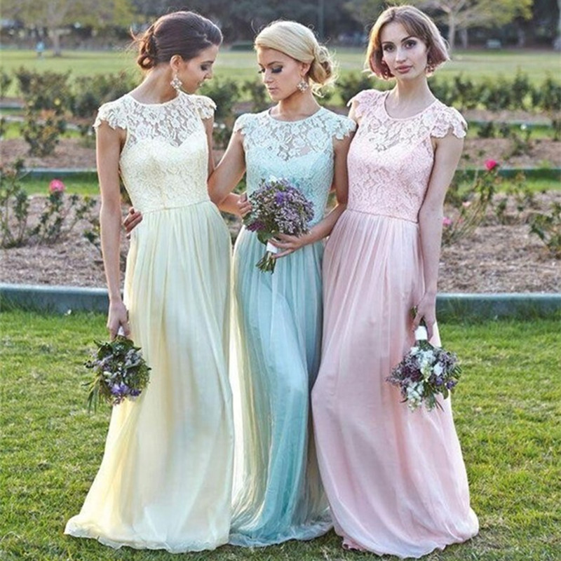 2016 A Line Cap Sleeves Floor Length Bridesmaid Dress Yellow Blue Pink Lace Long Dresses Wedding Party In From