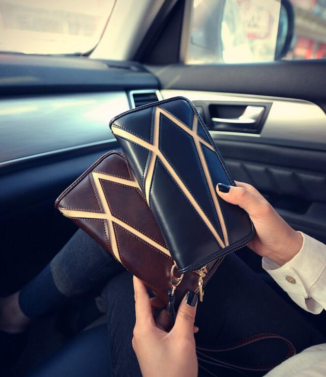 Authentic female wallet 2017 new purse fashion long purse Female money wallet leisure leather hand bag Mobile phone package