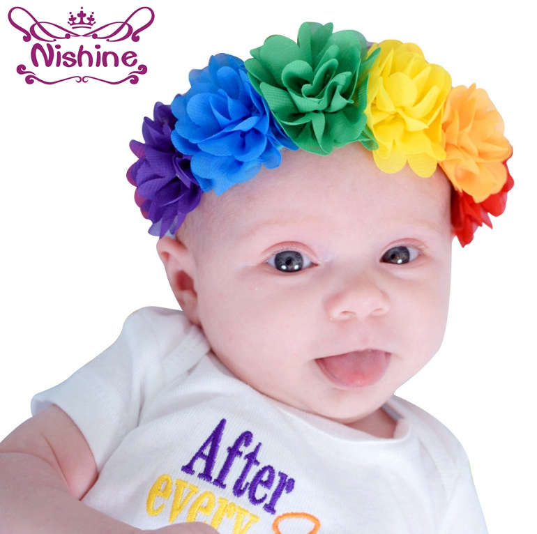 Nishine Mini Chiffon Flower Newborn Kids Girls Toddler Flower Headband Elastic Rainbow Colorful Children Headwear