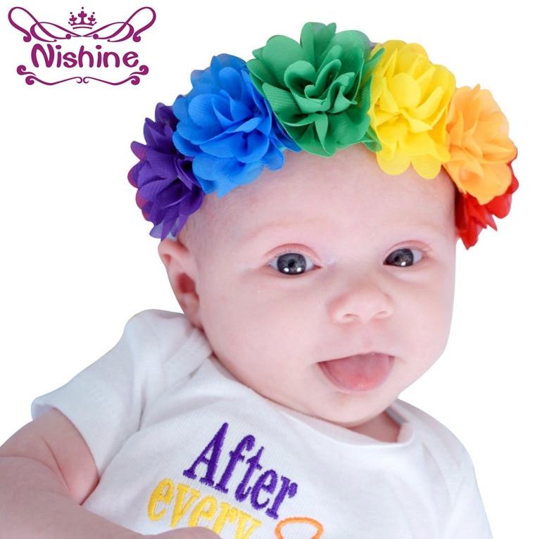 Nishine Mini Chiffon Flower Newborn Kids Girls Toddler Flower Headband Elastic Rainbow Colorful Children Headwear