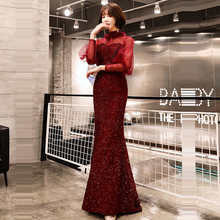 Evening Dress Burgundy Hollow Long Sleeve Women Party Dresses Sequin Robe De Soiree 2019 Plus Size High Collar Formal Gowns E700 цена