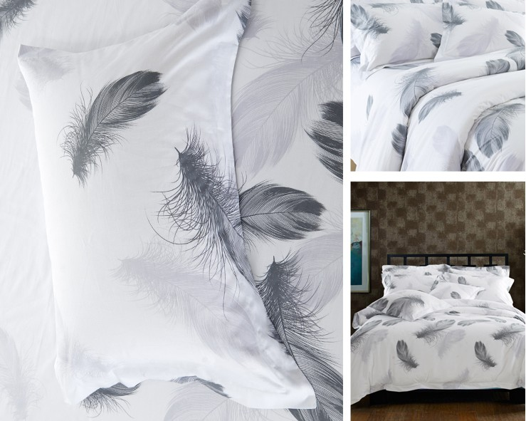 Black And White Bedding Set Feather Duvet Cover Queen King Size Full Twin Double  Bed Sheets Bedspreads Quilt Linen Cotton Plume In Bedding Sets From Home ...