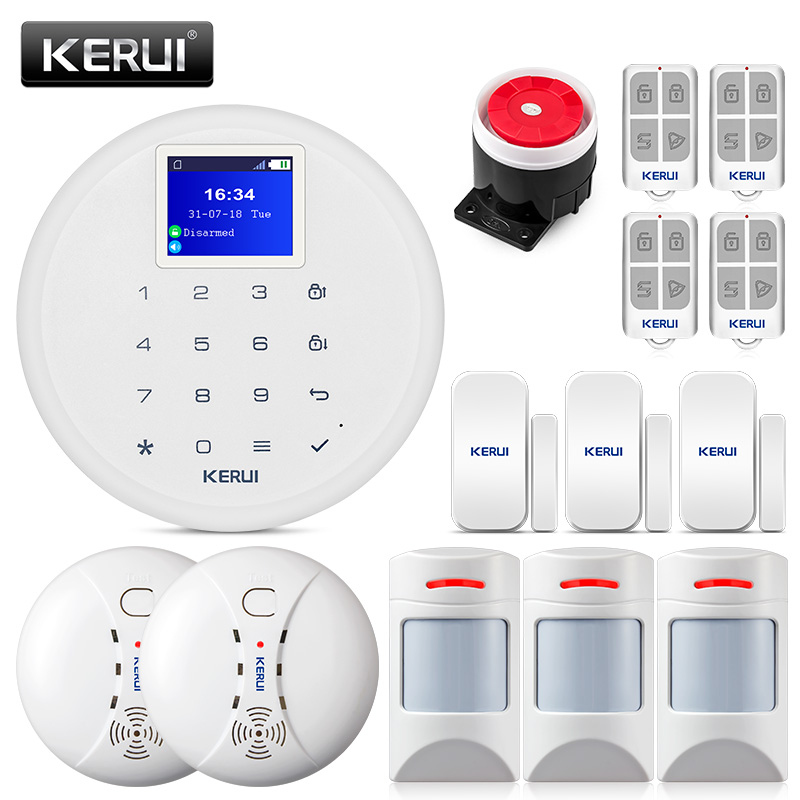KERUI G17  Wireless Home Security GSM Alarm System Burglar Alarm Kits Phone IOS Android APP Control  with fire smoke detector