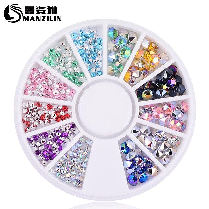 DIY nail art decorations Wheel 4mm 2mm Acrylic mix colours tip drill Glitter Nail Rhinestones