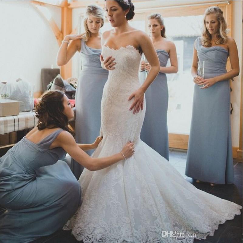 One Shoulder Grey Long Chiffon Bridesmaid Dresses Vestido De Festa Cheap Pleats Ruched Wedding Party Gowns Court Train F2