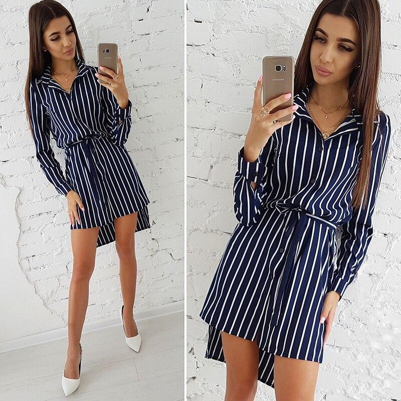 b5e09ba6036c 2018 Autumn Fashion Women Striped Print Dress Casual Turn-down Collar Long  Sleeve Button Shirt