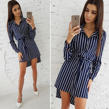 2018 Autumn Fashion Women Striped Print Dress Casual Turn-down Collar Long Sleeve Button Shirt Dresses Vintage Striped Vestidos(China)