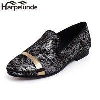 Harpelunde Erkekler Elbise Resmi Ayakkabı Altın Plaka Ile Baskılı Kadife Mokasen Boyutu 6-14