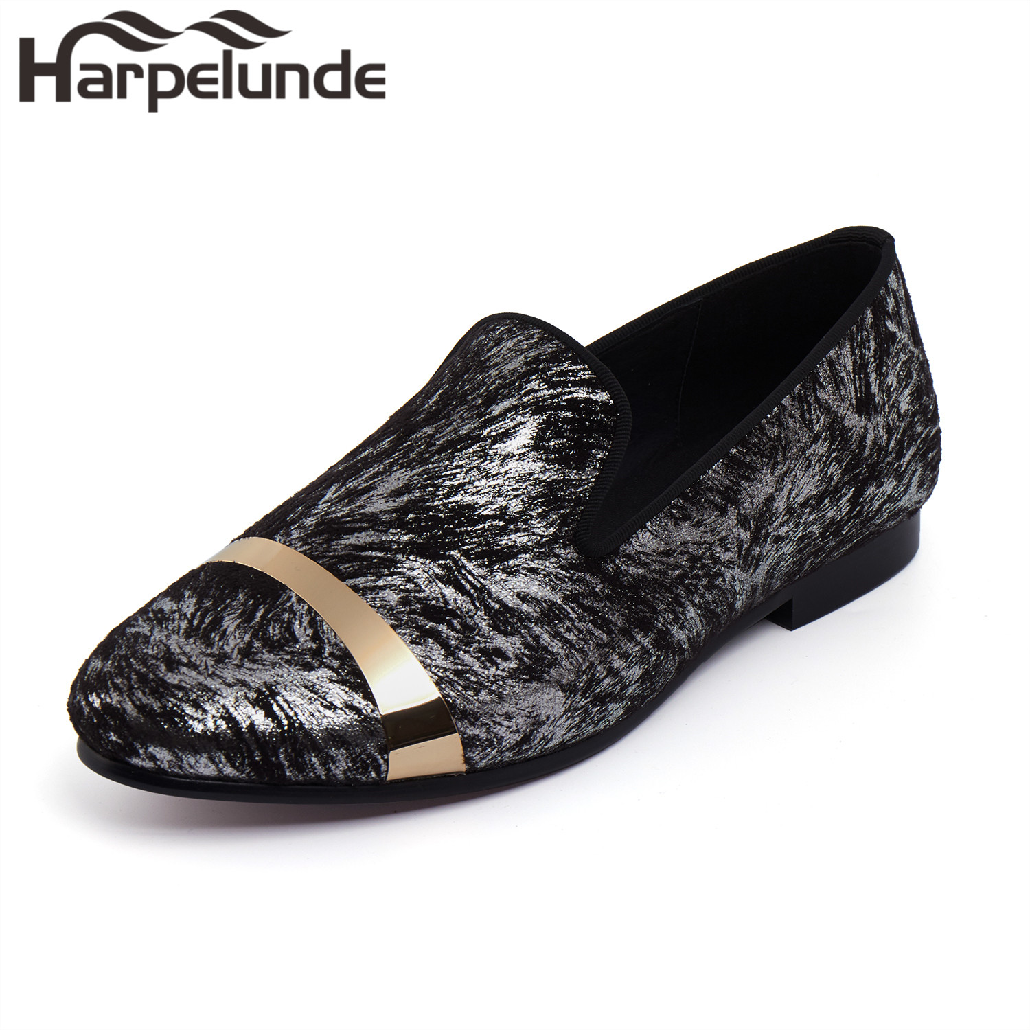 Harpelunde Men Dress Formal Shoes Printed Velvet Loafer With Gold Plate Size 6 To 14