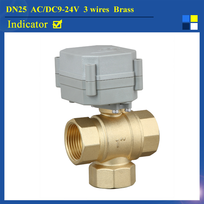 1 AC/DC9-24V 3 wires  3-way  T port electric actuated ball valve for water heating HVAC, air conditional 1 dc12v 2 wires 3 way electric valve t type 2 wires manual override available for water heating hvac air conditional