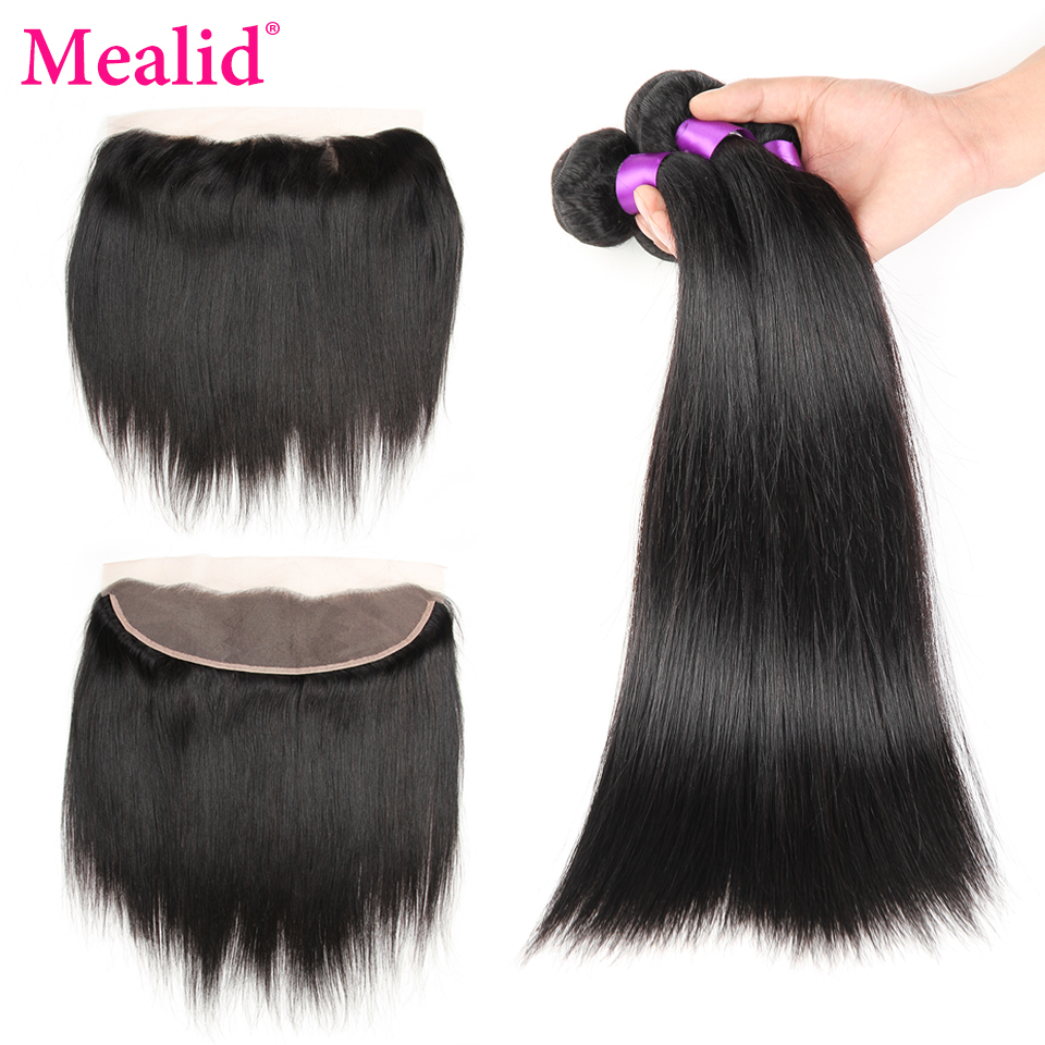 Mealid Brazilian Hair Weave Bundles Frontal with Bundles Straight Nonremy Natural Color Human Hair Bundles With Free Frontal
