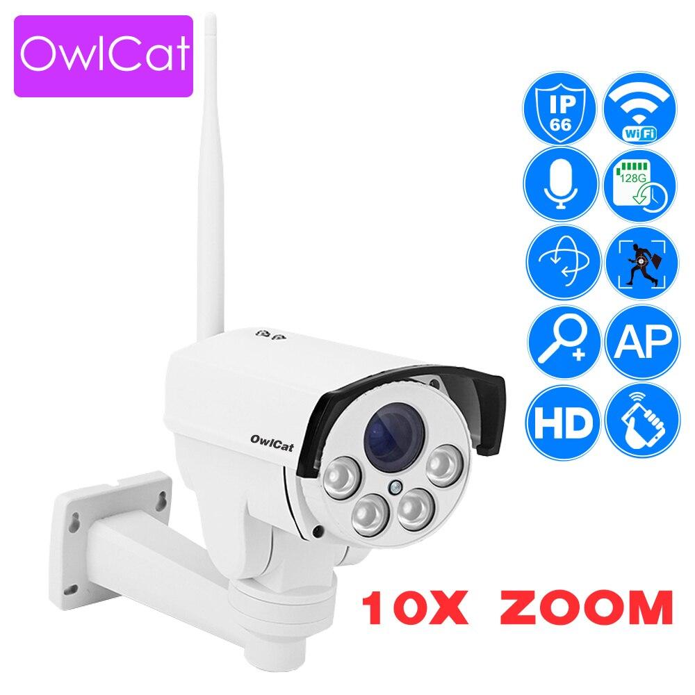 OwlCat Wi-fi Rua 5X 10X Bala Ao Ar Livre Câmera PTZ IP Zoom Óptico 2MP 5MP Noite IR Sem Fio Onvif Cartão SD câmera de CCTV audio