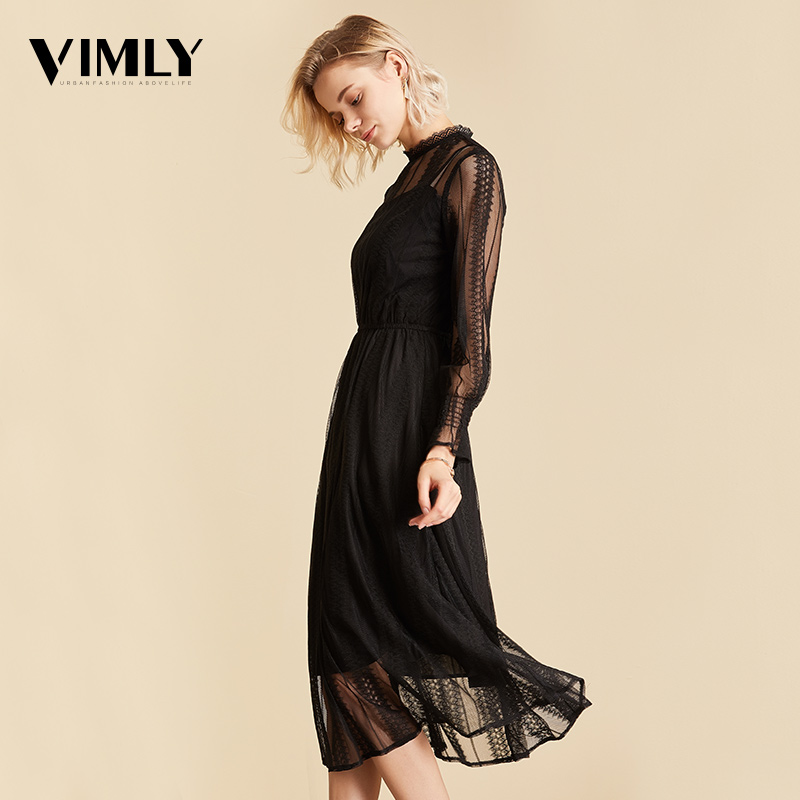 Vimly Elegant Mesh Lace Embroider Women Dress Stand-Neck Flare Sleeve Party Dresses Sexy Midi Elastic Waist Hollow Out Dress 2