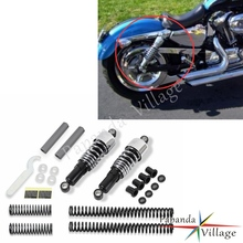 Papanda Motorbike Chrome Shock Absorbers Fork Spring Lowering Slammer Kit for 1988-2003 Harley Sportster XL 883 1200 XLH883