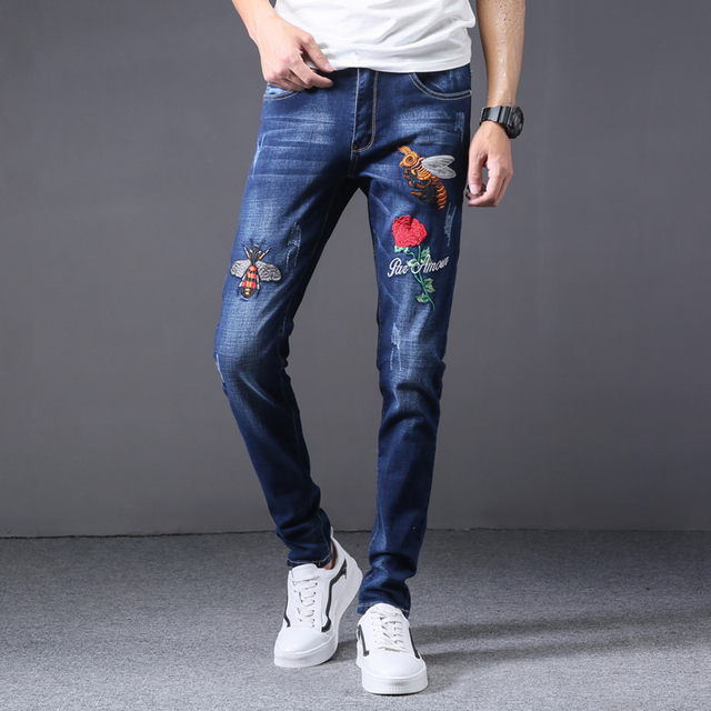 new luxury Men's brand jeans men cotton skinny Slim Solid Casual Stretch Denim jean mens long Pants male