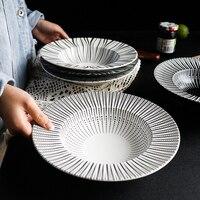 Ceramic Plate Deep Tray Rice Dish Western Salad Bowl Pastal Dish Food Tableware Creative Black And White Straw Hat Plate 1pcs