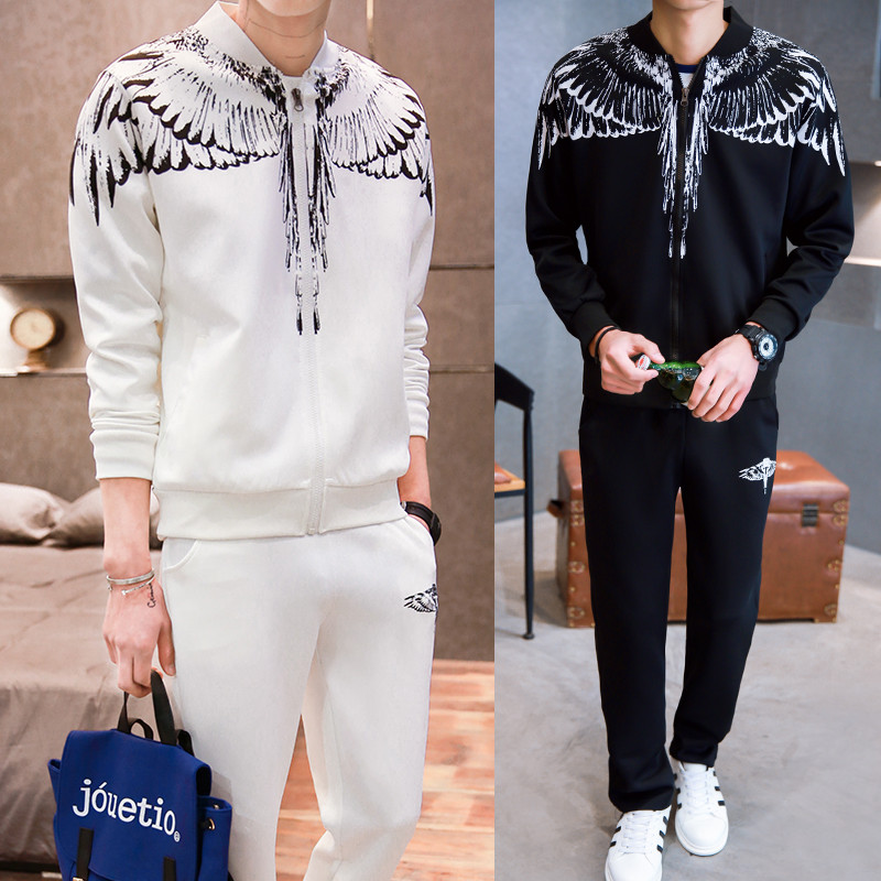 Herren Winter Casual Wing Print Sportanzug Set Hoodies Sweatshirt Hip - Herrenbekleidung - Foto 5